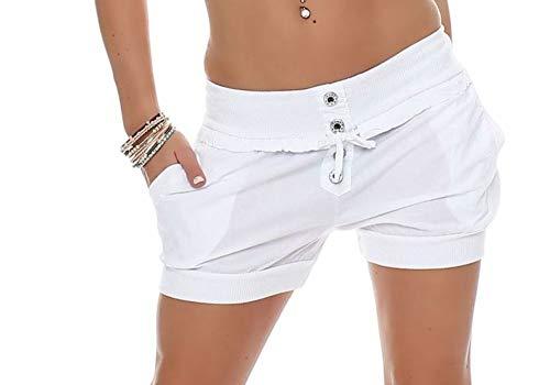Malito Damen Hotpants in Unifarben   lockere Kurze Hose   Bermuda für den Strand   Pants - Shorts - klassisch 6086 (weiß, M)