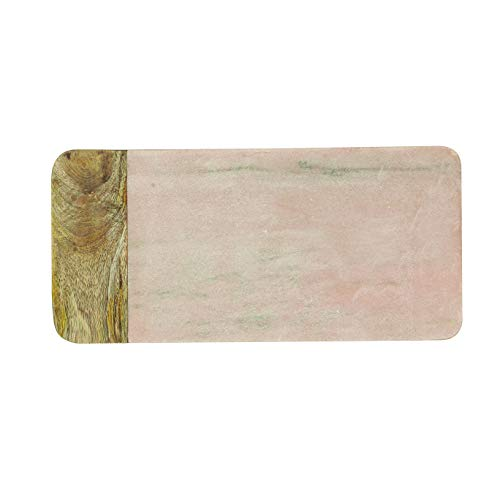 Creative Co-Op DA6157 Rectangle Pink Marble & Mango Wood Cheese, Cutting Board