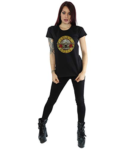 Guns N Roses mujer Vintage Bullet Logo Camiseta Medium Negro