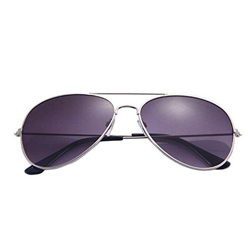 Huihong Pilotenbrille Fliegerbrille Spiegelbrille Pornobrille Sonnenbrille Polizei Brille silber Unisex Herren Damen Männer Fraue (A)