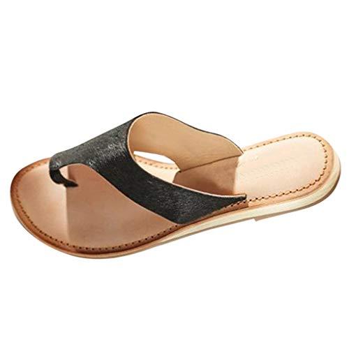 RYTECFES Sandalen Damen Bequeme Plattform Sandal Sommer Strand Reise Schuhe Flach Flip Flops Peeptoe Zehentrenner Zehenslipper Hausschuhe Leder Römische Schuhe