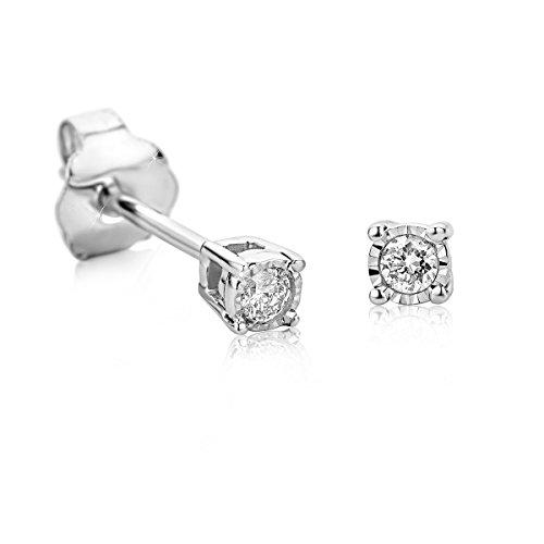 Orovi Orecchini Donna a lobo Solitario con Diamanti taglio brillante Ct 0.05 in oro Bianco 9 kt 375
