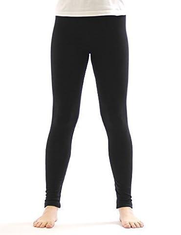 Kinder Thermo Mädchen Leggings leggins Hose lang aus Baumwolle Fleece Futter schwarz 134