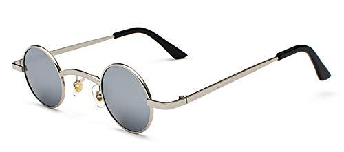 WDXDP Sonnenbrillen Retro Mini Sonnenbrille Runde Männer Metallrahmen Gold Schwarz Rot Kleine Runde Gerahmte Sonnenbrille Für Frauen Unisex Uv400Silber Spiegel