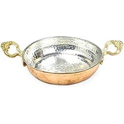 Nosy Nomad Casserole en Cuivre Turque: Casserole à Oeufs en Cuivre Solide | Double Omelette Turque poêlée | Poêle à Cuivre Antique Utilisée pour la Friture ou la Décoration 17cm