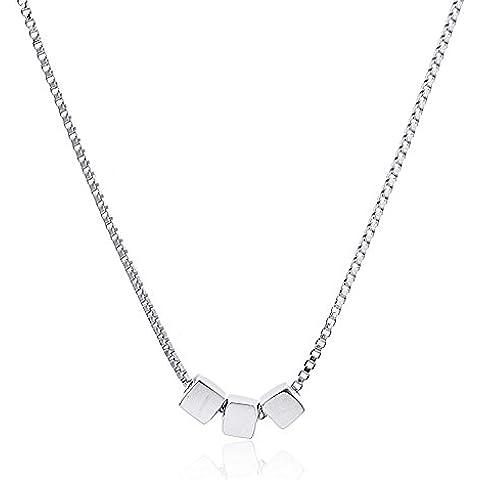 Lureme®rame 3 cubi collana pendent di alta qualità per le donne e le ragazze - il tono d'argento (01003014-1)rh