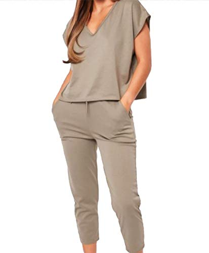 c127596df4c0 Islander Fashions Womens V Neck Baggy Loose Fit Lounge Wear Tracksuit Top  Jogger Co-Ord