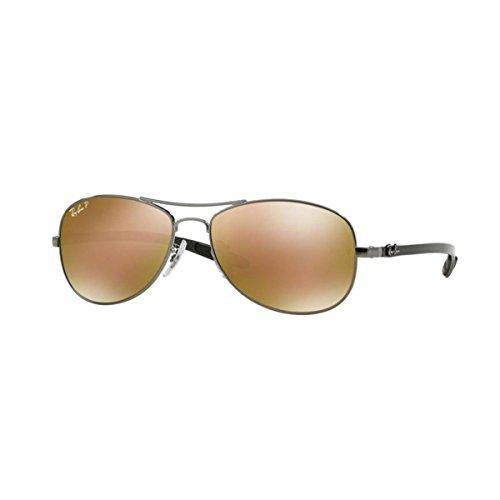 Ray Ban Unisex Sonnenbrille RB8301, Mehrfarbig (Gestell: Gunmetal, Gläser: braun verspiegelt/Gold polarisiert 004/N3), Large (Herstellergröße: 56)