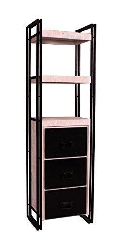 Stand-Regal weiß mit antikschwarz aus Mangoholz 3 Schubladen und 2 Böden 60x40x200 cm | White Santiago | Bücher-Regal weiss schwarz mit Altmetall und Gebrauchsspuren 60cm x 40cm x 200cm -