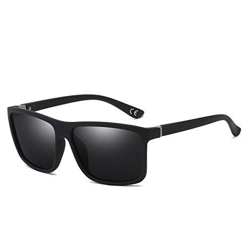 BVAGSS Herren Sonnenbrille Mit Polarisierte Gläser Outdoor Sportarten Schutz Brille UV-Schutz Fahrbrille (Sand Black Frame With Gray Lens)