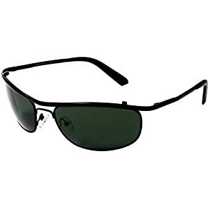 AISLIN® Non-Breakable Oval Sunglasses For Men (G-15 Green Lens)(AS-8012DH-2-BLK)