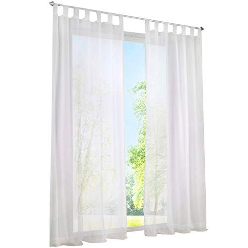 ESLIR Gardinen mit Schlaufen Vorhänge Fensterschal Transparent Schlaufenschal Voile Weiß BxH 140x145cm 1 Stück