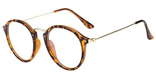 BOZEVON Klare Linse Transparente Gläser - Runde Ultradünne Metallrahmen Lesebrille Decor Retro Brillen Brillen Für Männer Frauen Leopard (Cateye)