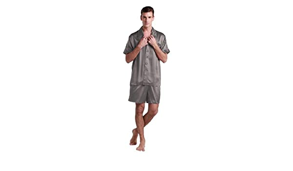 022a2d8660 LILYSILK Men s Silk Pyjamas Shorts Set Notched Collar 22 Momme Pure Silk  Dark Gray Size 34 XS  Amazon.co.uk  Kitchen   Home
