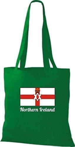 ShirtInStyle Stoffbeutel Baumwolltasche Länderjute Northern Ireland Nordirland Farbe Pink kelly