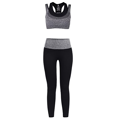Vbiger Sports Bra Yoga Clothing Set Sport Suits, Racerback & Pants Gym Outfits for Women(Grey M)