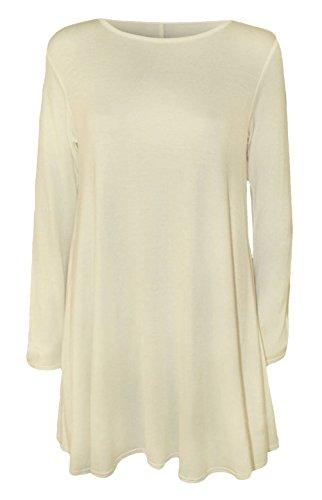 Damen Langärmliges Einfarbiges Jersey Ausgestellt Tee Skater Swing Kleid Größen 8-26 - Creme, 36-38