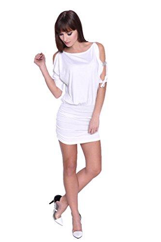 Damen Kleid Dress Schulterfrei Abendkleid Cocktailkleid mit Strass Pailetten Gitzer Cut-Outs Minikleid Gr. 34 36 - 38 S M L XL, 5004 Weiß