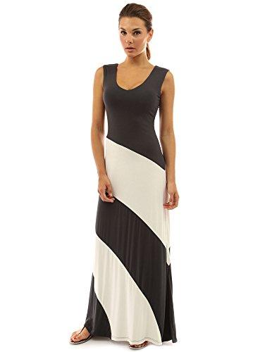 PattyBoutik femmes La maxi robe de plage à rayures d'un col V sans manches gris foncé et blanc ivoire