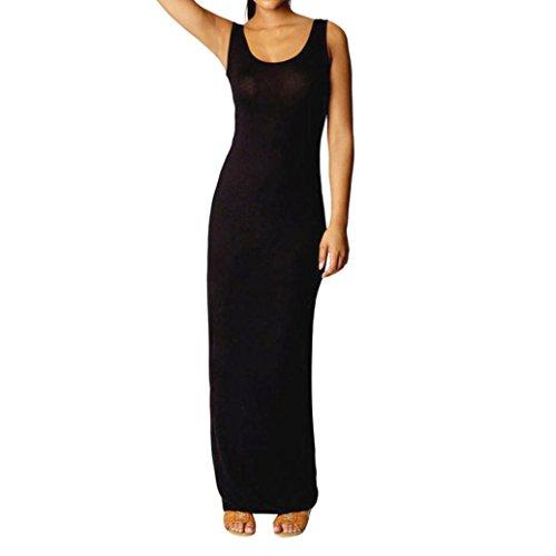 KaloryWee Kleider Damen Voller Länge Kleid Damen Jersey Racer Back ärmellos Figurbetont Weste Kleid, Schwarz, Label Size XL