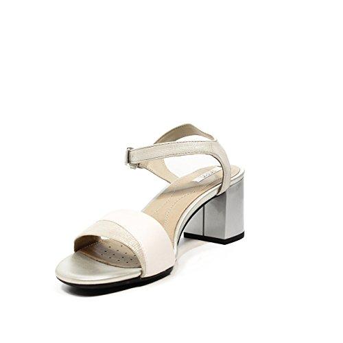 Geox D724XB0SKBC Sandale Femme Blanc / Argent