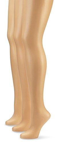 Nur Die Damen Strumpfhose 725949/3er Pack Transparent, 15 DEN, Gr. 48 (Herstellergröße: L (44-48)), braun (mandel 116)