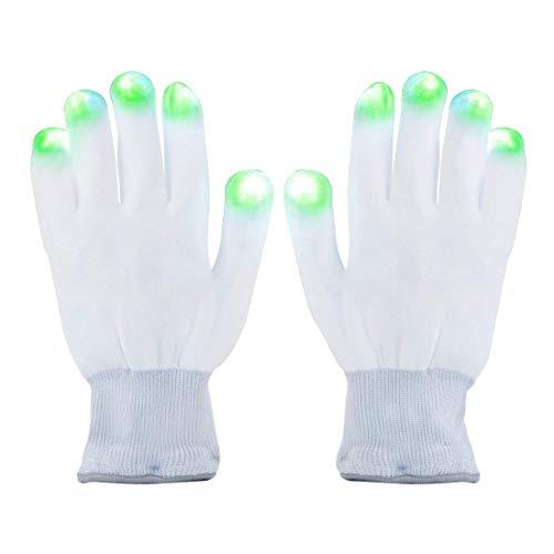 LED Handschuhe Magic - leuchtende Bunte Finger Beleuchtung, mit Farbwechsel, für Party-Kostüme, Festivals, Karneval, Fasching, Halloween - 1 Paar, Einheitsgröße