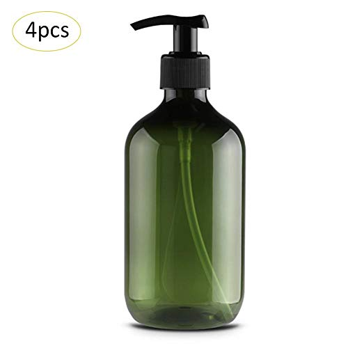libelyef 500 ml Leere Pumpe Flasche PET Lotion Flasche Kunststoff Runde Schulter Pumpenkopf Recycelbar Leere Flaschen für Shampoo Duschgel Handdesinfektionsmittel