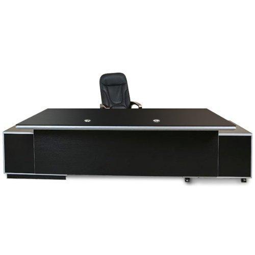 Büromöbel Bueroausstattung Büro Chef Schreibtisch Kehl 2.45 m XXL schwarz von Jet-Line office Ausstattung inkl. Sideboards mit Schubladen (Büromöbel Chef)