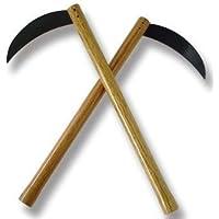 Playwell - Armas Kama para artes marciales, hoja de acero, mango de madera