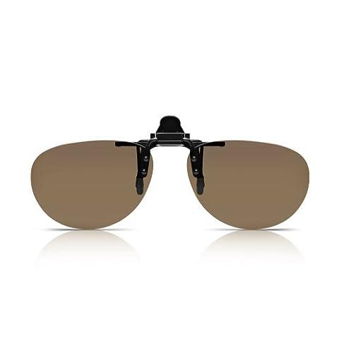 Read Optisch Clip-On Sonnenbrillen. Polarisierter Flip-Up UV-Schutz für Männer und Frauen. Braune, randlose, UV-blockierende anklemm- und hochklappbare UV400 polykarbonat Linsen. Ovaler Pilotenbrillen-Stil für Korrektur- und Lesebrillen und zum Autofahren