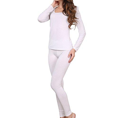 Godsen Damen Stretch Dünn Thermo Unterwäsche Set Leggings und Langarmshirt Weiß