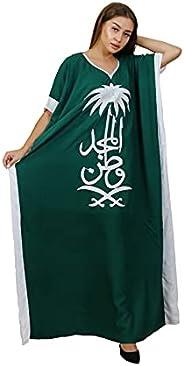 جلابية نسائية طويلة بتصميم سعودي لليوم الوطني