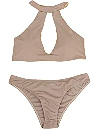 7c2aa025a0 FnieYxiu Women s Swimsuits Bathing Suits Summer Solid Color Halter Cutout  Bikini Set Two-Piece Swimsuit