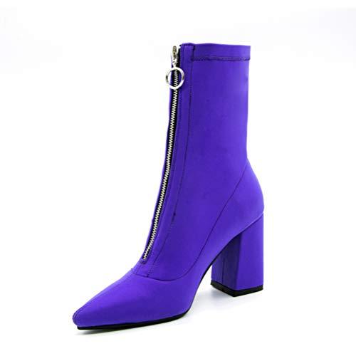 Frauen spitz Zehen Socken Stiefel quadratische Ferse Schuhe Stiefeletten Mitte Kalb Highheels Zip Mitte Kalb Stilettos -