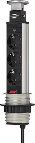 Brennenstuhl Tower Power, Tischsteckdosenleiste 3-fach (Steckdosen-Turm, 2m Kabel, komplett in Tischplatte versenkbar) Farbe: alu / schwarz