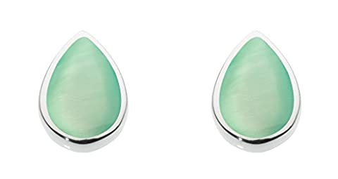 Dew Sterling Silver and Green Mother of Pearl Shell Pear Stud Earrings