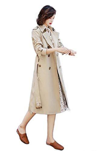 VITryst Women's Duster Jacket British Style Belt Mid Long Trench Coat Khaki S Womens Duster