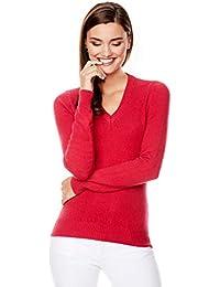 Damen Pullover Seide Longpulli Strick Tunika Fransen Pulli Rot  S M L XL
