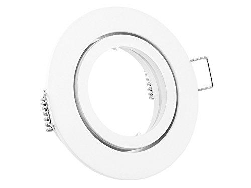 linovum® Einbaustrahler Rahmen rund schwenkbar weiß inkl. GU10 Fassung für LED oder Halogen