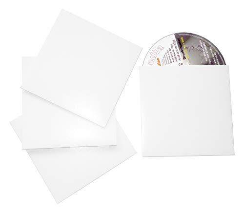 500 CD Leerhüllen aus Karton (Papphüllen) CD Kartonstecktaschen aus Chromokarton weiß glänzend, für je 1 CD/DVD/Blu-Ray Rohling, Made in Germany