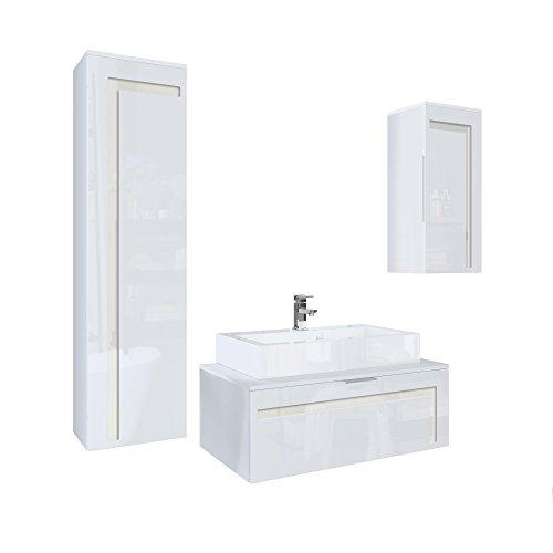 Perlmutt Waschbecken (Badmöbel Komplettset Aloha V2, Korpus in Weiß matt / Fronten in Weiß Hochglanz mit Absetzungen in Creme Hochglanz, mit Aufsatzwaschbecken und Armatur (M1))