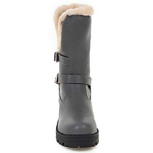 COOLCEPT Damen Freizeit-Quadrat Absatzschuhe warme kurze Plüsch halbe Schneeaufladungen mit Schnallenriemen Grau