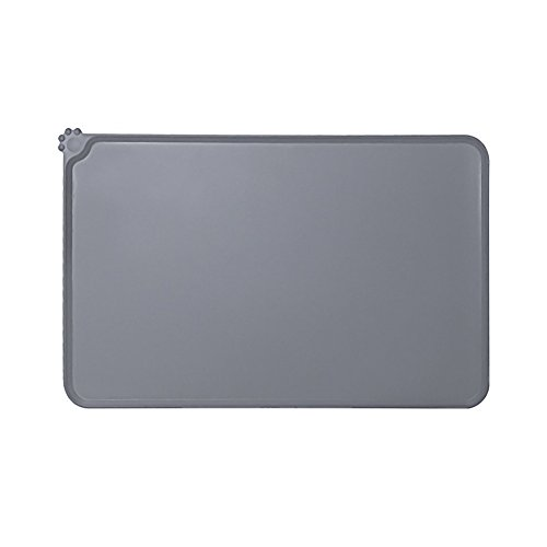 Qutaway Pet Food Mat Silicone Feeding Tray Pet Bowl Mat for Dods and Cats (Grey,PVC,47X30cm/18.5x11.8In)
