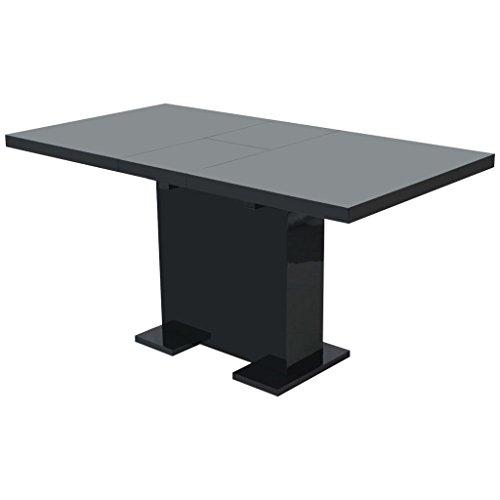 vidaXL Mesa de Comedor Extensible Negra Brillante Mueble ...