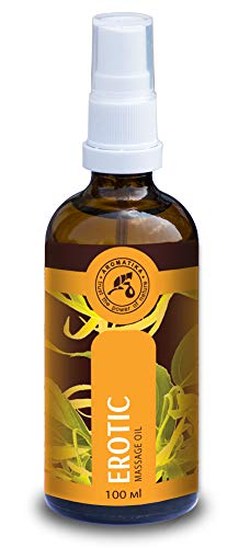 Erotisches Massageöl 100ml - Liebesöl mit 100{549afe114591a99ce928c8c386f362bb86b4a584bce8fa094713782b59a6fe29} Natürlichem Ylang Ylang Öl und Jojobaöl - Erotiköl mit Herrlichem Duft - Massageöl Aphrodisisches - Glasflasche - Naturkosmetik - Massageöle