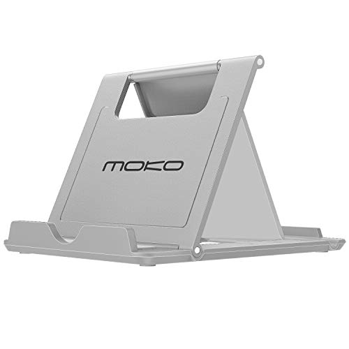 MoKo Tablette Stand Support Multi-Angle Portable Pliable pour Smartphones, Tablettes (6-8 Pouces) pour Galaxy S9/S9 Plus,iPad Mini 4 3 2 1, Moto G6, Sony,iPhone Xs Max/Xs/XR/8, GRIS(Small size)