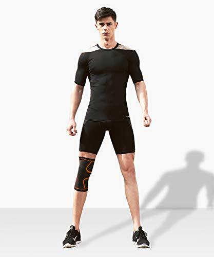 VIPFAN Kniebandage, Verstellbar Knieschoner Knieschützer 2 Pack für Laufen Walking Radfahren Basketball und Knie Sicherheit Schmerzlinderung – Sport Verletzungen Rehabilitation & Schutz(M,Orange)