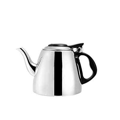 Rollsnownow Théière à la maison en acier inoxydable Rétro pot de café La cuisinière à induction à bouilloires épaisses peut être chauffée 1.2L, 1.5L