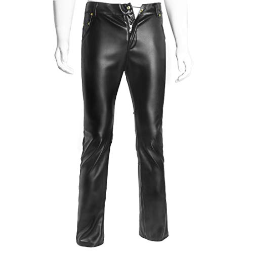 Duuozy Herren PU Lederhose Rock Steampunk Skinny Slim Fit Straight Leg Hosen Trachtenlederhose,Black,L
